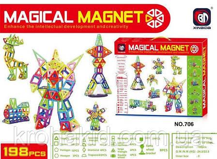 Конструктор магнитный 706 Magical Magnet Xinbida, 198 деталей, фото 2