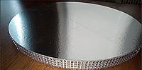 Подложка  усиленная круг серебро 34 см  h -2 см