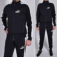 Мужской спортивный костюм Puma (Пума) на манжете / Трикотаж двунитка / Размеры: 46,48,50,52,54 - черный