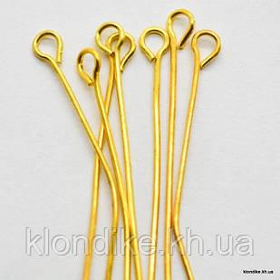 Пины с Петелькой, Металл, 55 мм, Цвет: Золото (100 шт.)
