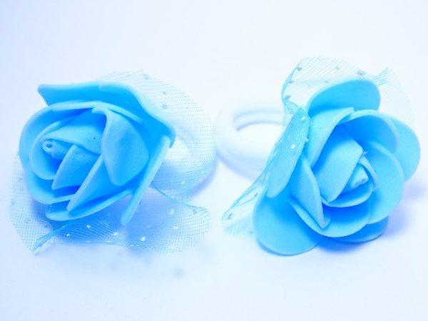 """Детские резинки пара """"Розочки с фатином"""" голубые"""