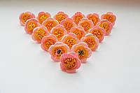 Цветы Персиковые из фоамирана (латекса) 3 см 10 шт/уп, фото 1