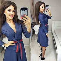 Женское джинсовое платье под пояс 42, 44, 46, 48
