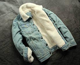 """Куртка мужская джинсовая на меху """"Triangles"""" (демисезон/еврозима)"""