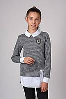 Модный свитер обманка для девочки (128-164р)
