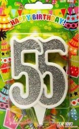 Свеча цифра 55  юбилейная  белая с серебром