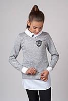 Модный серый свитер обманка для девочки (128-164р)