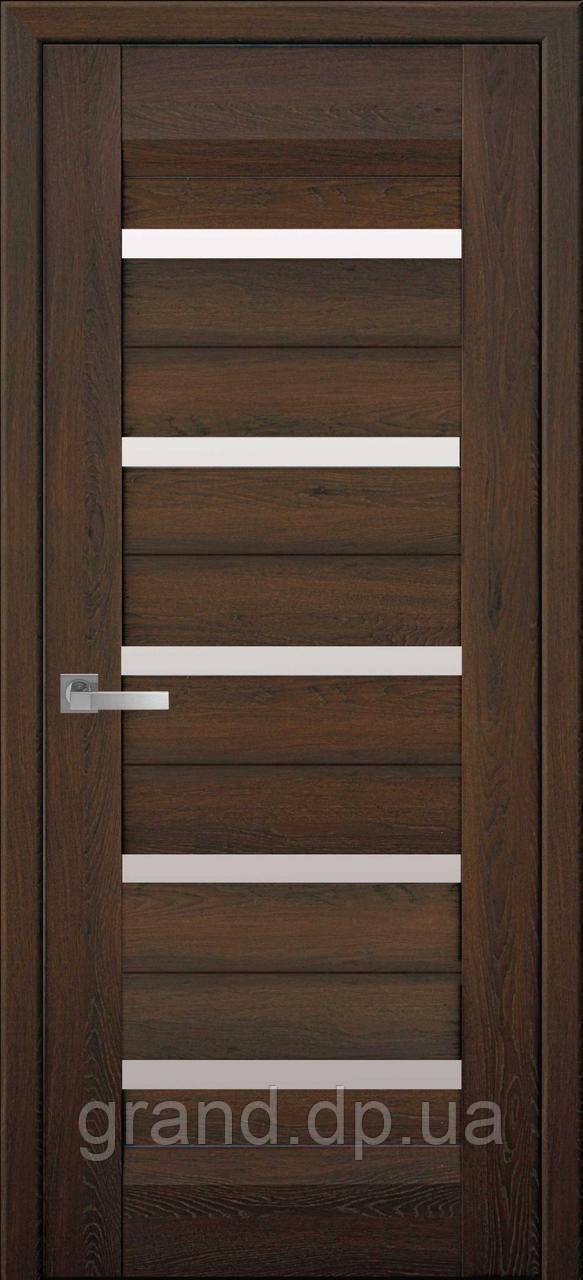 Двери межкомнатные Новый стиль Лира нано флекс с матовым стеклом, цвет дуб шоколадный
