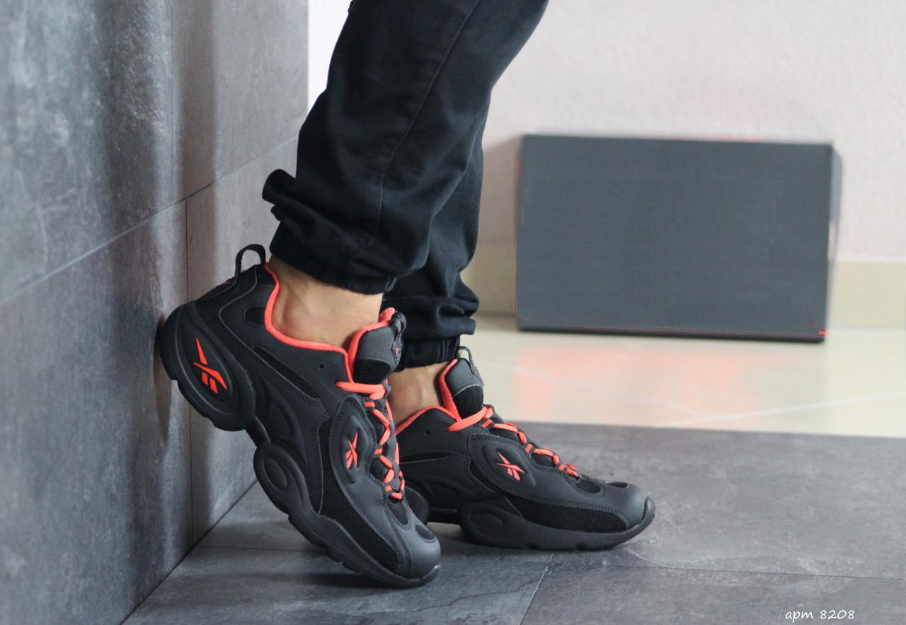 Мужские кроссовки Reebok кожаные,черные с оранжевым