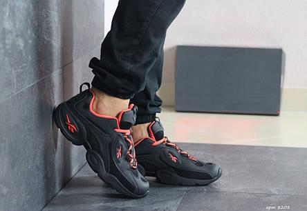 Мужские кроссовки Reebok кожаные,черные с оранжевым, фото 2
