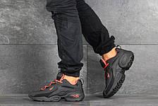 Мужские кроссовки Reebok кожаные,черные с оранжевым, фото 3
