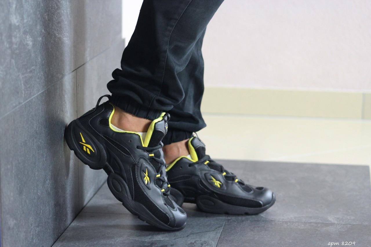 Мужские кроссовки Reebok кожаные,черные с желтым