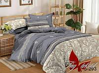 Евро комплект постельного белья с компаньоном из сатина (пододеяльник 200х220) S-293е