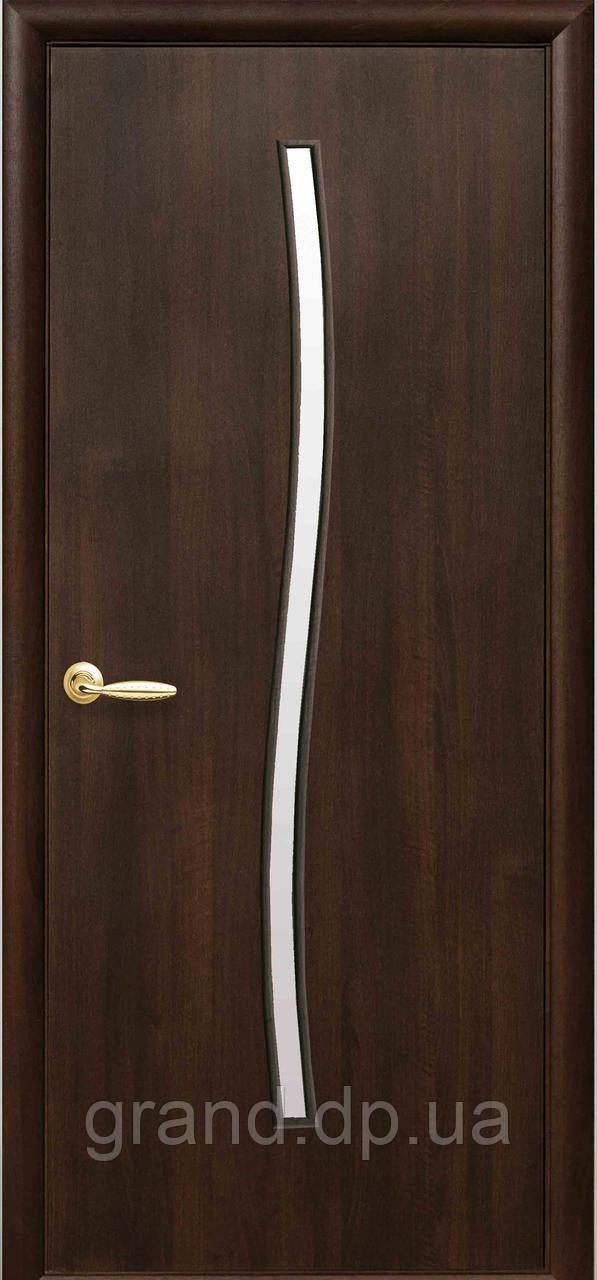 Двери межкомнатные Новый стиль Гармония ПВХ Deluxe c матовым стеклом, цвет каштан