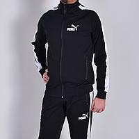 Черный мужской спортивный костюм Puma (Пума) /  Трикотаж двунитка / Размеры: 46,48,50,52,54