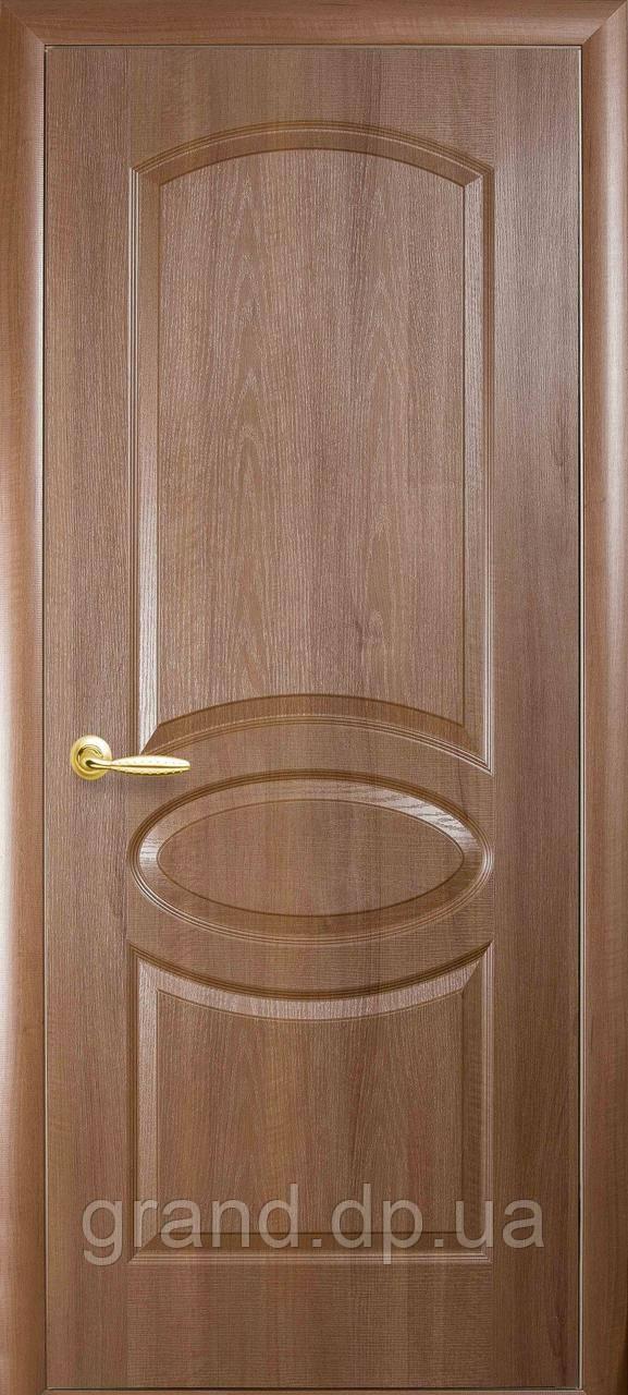 Двери межкомнатные Новый стиль Овал ПВХ Deluxe глухая, цвет золотая ольха