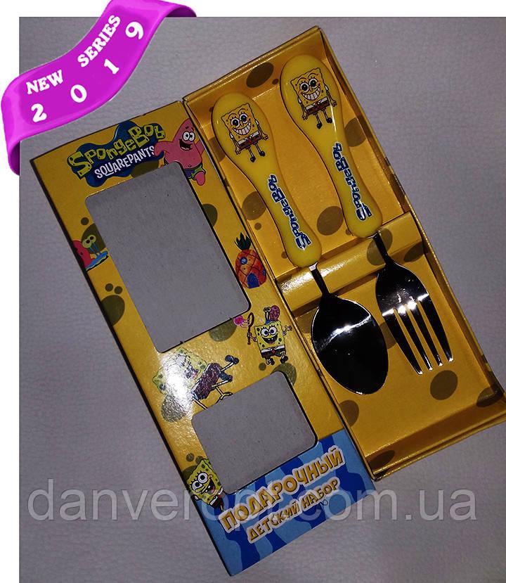 Столовый набор SPONGE BOB подарочный детский, купить оптом со склада 7км Одесса