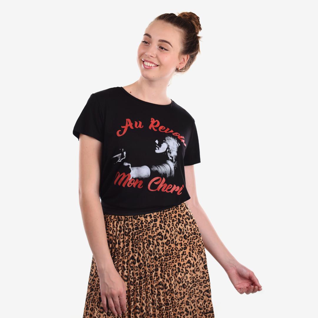 """Женская футболка """"AU REVOIR"""" М/Л 1023 Черный"""