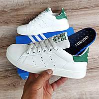 Детские, подростковые кроссовки Adidas Stan Smith White Green.  Натуральная кожа