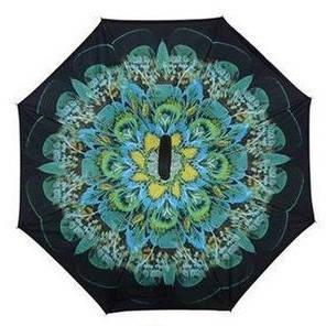 Зонт обратного сложения Up-Brella (Зеленый цветок), фото 2