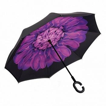 Зонт обратного сложения Up-Brella (Фиолетовый цветок)