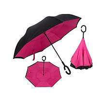 Зонт обратного сложения Up-Brella (Малиновый), фото 2