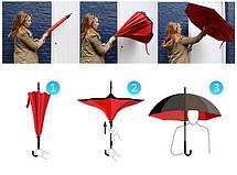 Зонт обратного сложения Up-Brella (Малиновый), фото 3