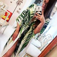 Размер 52. Белая пляжная женская накидка с пальмовыми листьями, парео-халат для пляжа с зелеными листьями