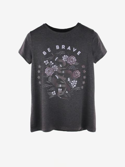 """Женская футболка """"BE BRAVE"""" М/Л 1022 Граффитовый"""
