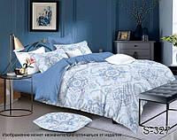 Евро комплект постельного белья с компаньоном из сатина на молнии (пододеяльник 200х220) S-327е