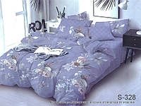 Евро комплект постельного белья с компаньоном из сатина на молнии (пододеяльник 200х220) S-328е