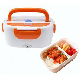 Контейнер с подогревом ланч бокс Electric lunch box оранжевый от сети 220V