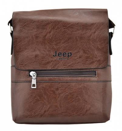 Брендова сумка для чоловіка Jeep Buluo 9008 коричнева, фото 2