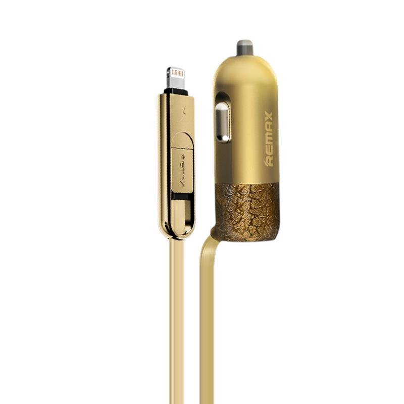 Зарядка автомобильная Remax оригинал USB 3.4A with Cable 2in1 iPhone 6/microUSB Gold (RCC103)