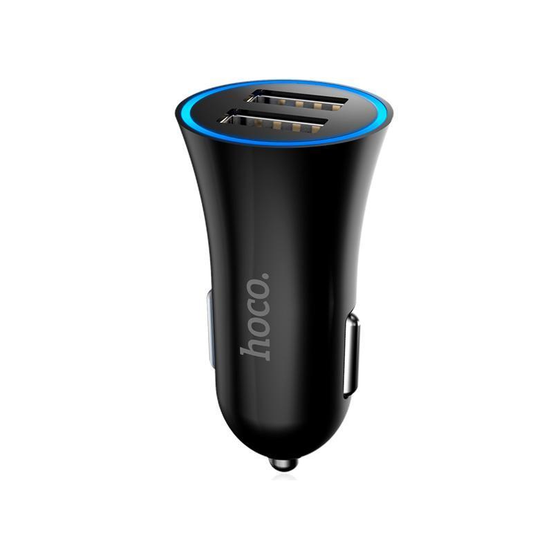 Зарядка автомобильная 2USB Hoco UC204 Black (2.4A)