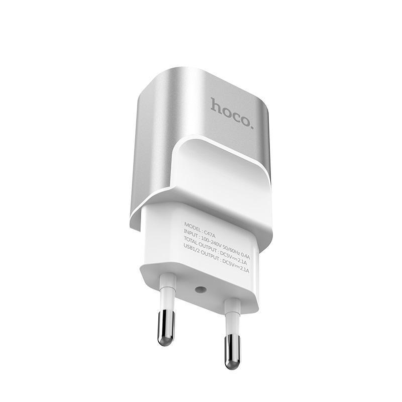 Зарядное устройство 2USB Hoco C47A Silver (2.4A)