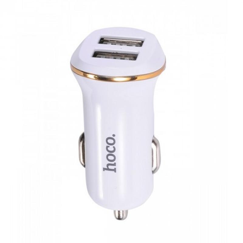 Зарядка автомобильная 2USB Hoco Z1 White + USB Cable MicroUSB (2.1A)