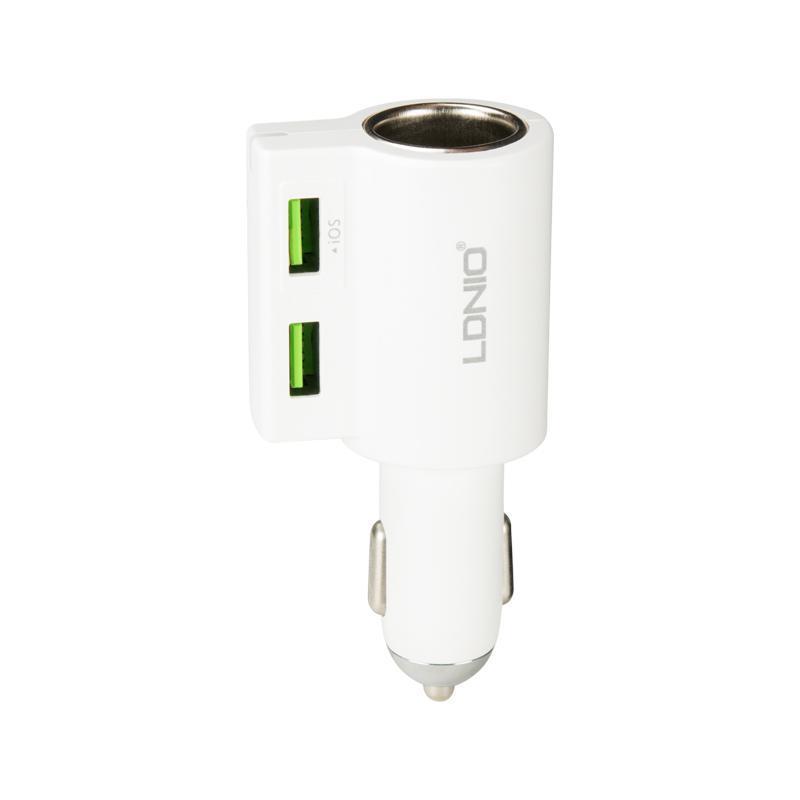 Зарядка автомобильная 2USB LDNIO (4.2A) White with charger socket (DL-CM10)