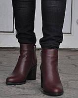 Ботинки, ботильоны женские демисезонные из натуральной кожи, бордо. Размеры 36, 39, 40. Viscala 77980.