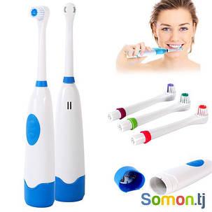 Electric ToothBrush зубная щетка Электрическая с насадками на батарейках, фото 2