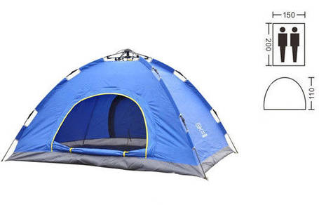 Двухместная туристическая палатка автомат № 3-2 Синяя, фото 2