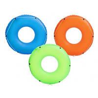 Детский надувной зеленый круг с канатом BESTWAY 36120 , надувной круг для детей 119 см