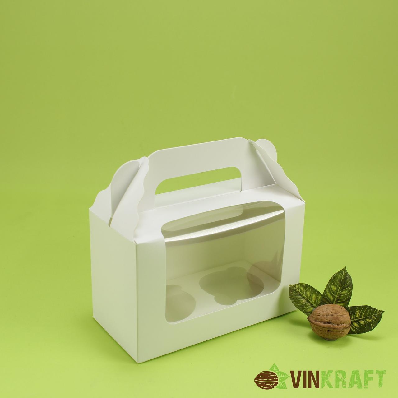 Коробка 165*80*105 для капкейків (2 шт) з ручками і вікном, біла