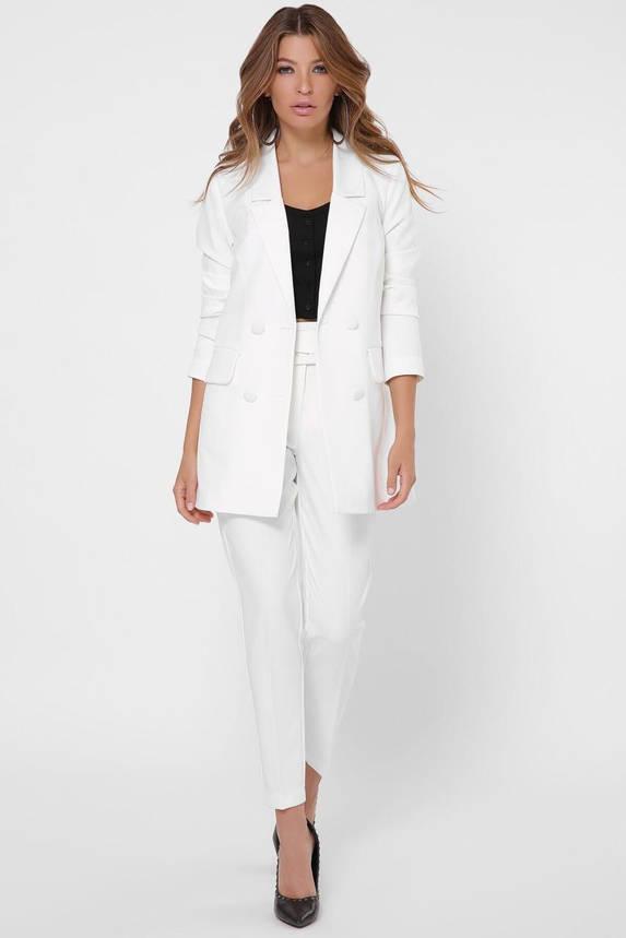 Белый женский брючный костюм в деловом стиле, фото 2