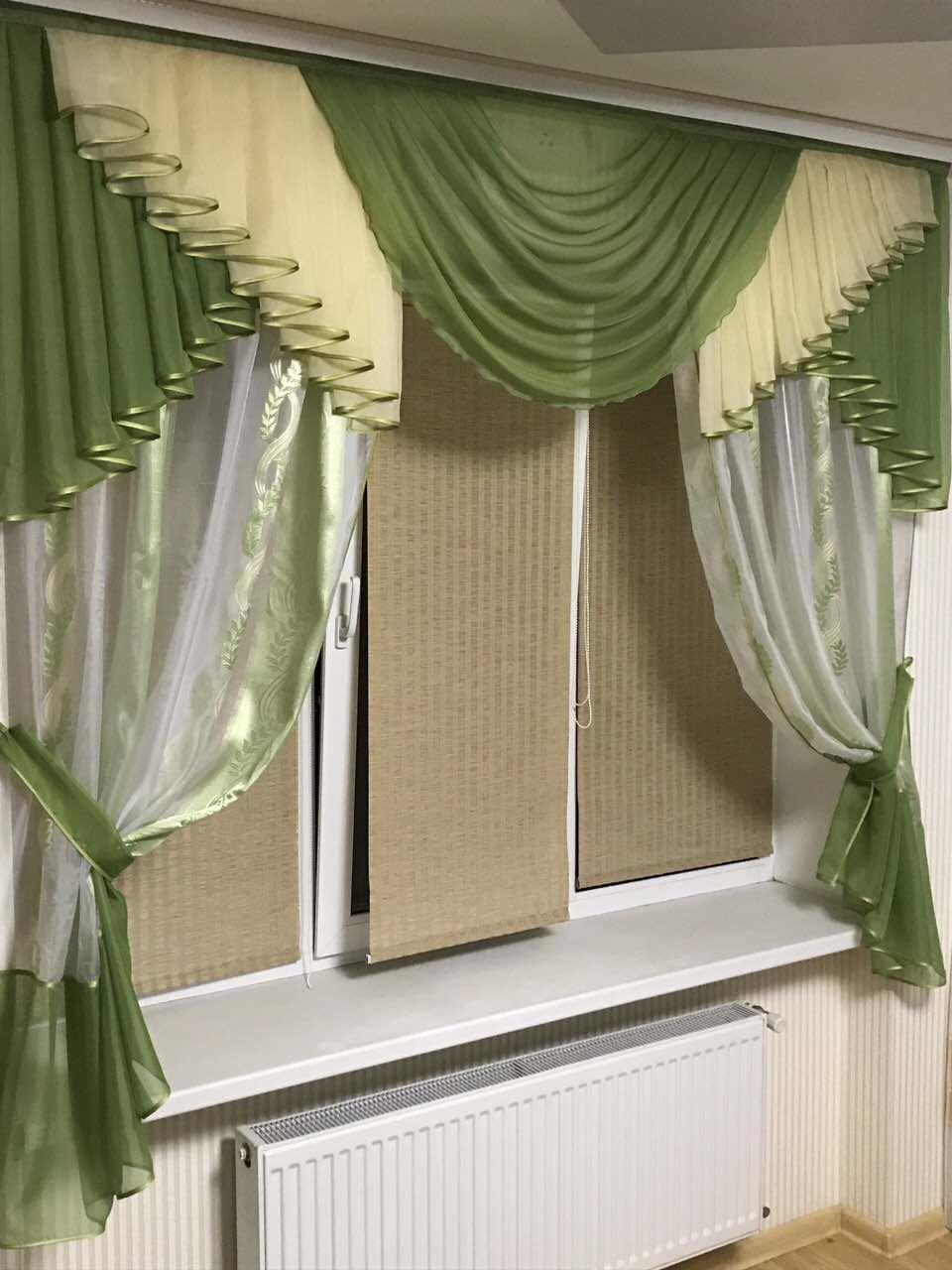 Комплект шторы с ламбрекеном для кухни красивые