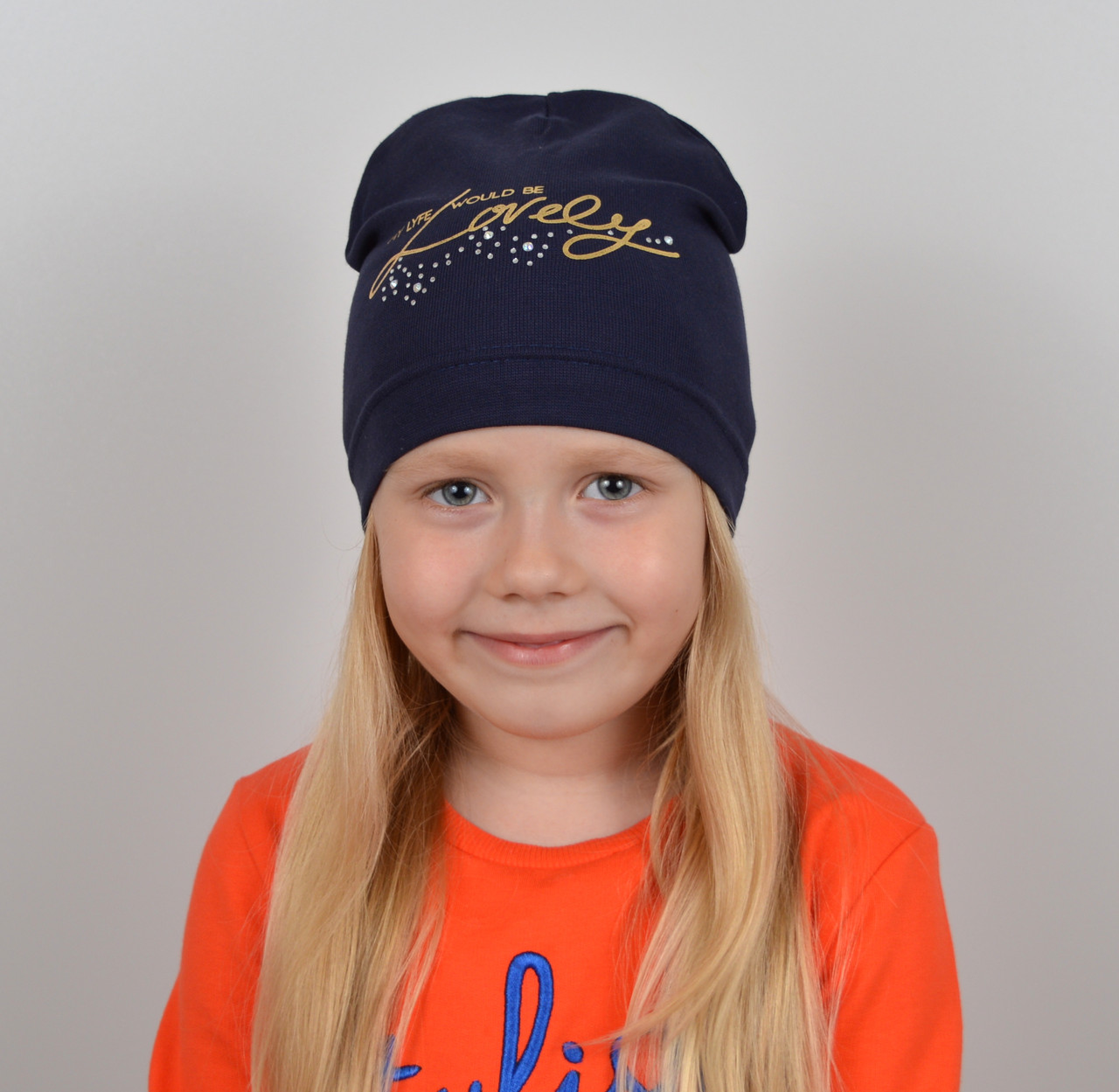 Брендовая шапка на весну для девочки - Артикул 2229