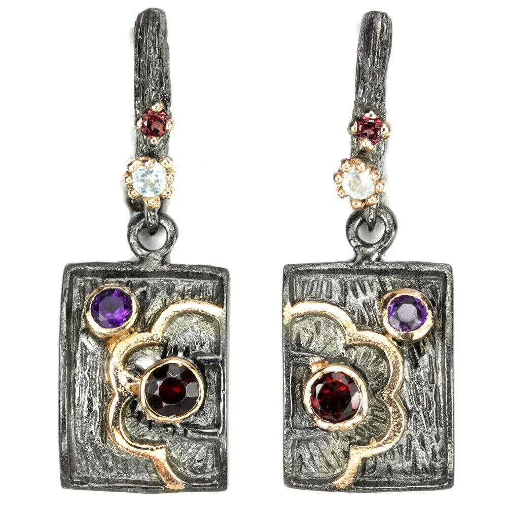 Серебряные серьги с натуральными Родолитами и Аметистами