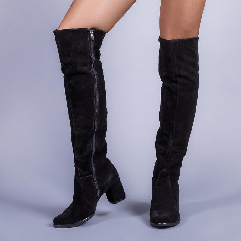 Замшевые черные сапоги на комфортном каблуке. Пошив в любом цвете по личным меркам