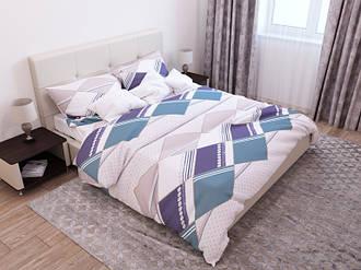 Двоспальний комплект з простий. 180х220 «Синій ромб» з бязі голд