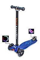 Детский самокат трехколесный Scooter MAXI. Spice (Космос). Светящиеся колеса!
